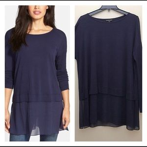 Eileen Fisher Navy Layered Silk Jersey Tunic Med